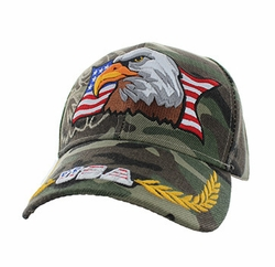Clothing Patriotic Military Hats Caps Wholesale Bulk Suppliers Massachusetts - VM140-06 American USA Eagle Velcro Cap (Solid Military Camo)