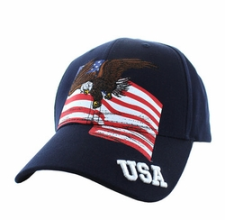 Hats Caps Military Patriotic Wholesale Bulk Suppliers - VM151-02 American USA Eagle Cotton Velcro Cap (Navy)