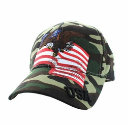 Hats Caps Military Patriotic Wholesale Bulk Suppliers - VM151-04 American USA Eagle Cotton Velcro Cap (Military Camo)