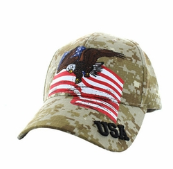 Military Caps, Patriotic Hats, Wholesale Bulk Supplier - VM151-05 American USA Eagle Cotton Velcro Cap (Digital Camo)