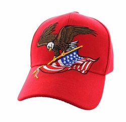 Military Caps, Patriotic Hats, Wholesale Bulk Supplier - VM203-04 American USA Eagle Velcro Cap (Solid Red)