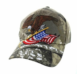Military Caps, Patriotic Hats, Wholesale Bulk Supplier - VM203-05 American USA Eagle Velcro Cap (Solid Hunting Camo)