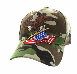 Military Caps, Patriotic Hats, Wholesale Bulk Supplier - VM203-06 American USA Eagle Velcro Cap (Solid Military Camo)