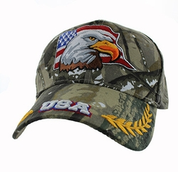 Military Caps, Patriotic Hats, Wholesale Bulk Supplier - VM225-05 American USA Eagle Velcro Cap (Solid Hunting Camo)
