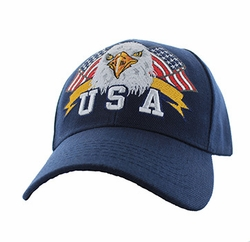Military Caps, Patriotic Hats, Wholesale Bulk Supplier - VM449-02 American USA Eagle Velcro Cap (Solid Navy)