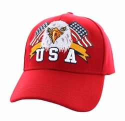 Military Caps, Patriotic Hats, Wholesale Bulk Supplier - VM449-04 American USA Eagle Velcro Cap (Solid Red)