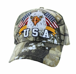 Military Caps, Patriotic Hats, Wholesale Bulk Supplier - VM449-06 American USA Eagle Velcro Cap (Solid Hunting Camo)