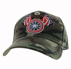 Military Caps, Patriotic Hats, Wholesale Bulk Supplier - VM465-05 American USA Eagle Velcro Cap (Solid Military Camo)
