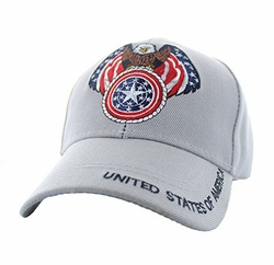 Military Caps, Patriotic Hats, Wholesale Bulk Supplier - VM465-06 American USA Eagle Velcro Cap (Solid Light Grey)
