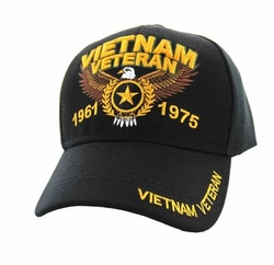 Hats Caps Military Vietnam Veteran Wholesale Bulk Suppliers Massachusetts - 01 Vietnam Veteran Velcro Cap (Solid Black)