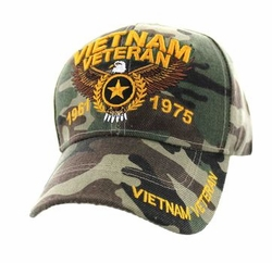 Hats Caps Military Vietnam Veteran Wholesale Bulk Suppliers Massachusetts - VM515-02 Vietnam Veteran Velcro Cap (Solid Military Camo)