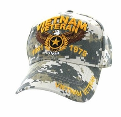 Military Caps, Patriotic Hats, Wholesale Bulk Supplier - VM515-03 Vietnam Veteran Velcro Cap (Solid Digital Camo)
