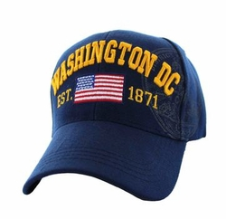 Military Caps, Patriotic Hats, Wholesale Bulk Supplier - VM990-02 Washington DC City Velcro Cap (Solid Navy)
