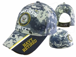 Navy Retired Military Hats Caps Wholesale Licensed Supplier Bulk Massachusetts - CAP592C Retired Navy Cap Camo