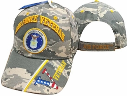 Military Hats Caps Wholesale Licensed Supplier Bulk Massachusetts - CAP593BC AF Vet & Emblem V on Bill Cap Camo