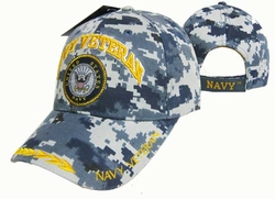 Hats Caps Military Navy Veteran Wholesale Bulk Suppliers Massachusetts - CAP592AC Navy Vet Emblem Cap Camo