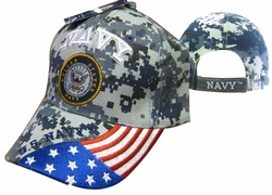 Military Hats Caps Wholesale Licensed Supplier Bulk Massachusetts - CAP602GC Navy Emblem Flag on Bill Cap Camo