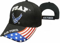 Military Hats Caps Wholesale Licensed Supplier Bulk Massachusetts - CAP603GB AF Logo Flag on Bill Cap Bk