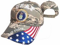Military Hats Caps Wholesale Licensed Supplier Bulk Massachusetts - CAP603GC AF Logo Flag on Bill Cap Camo