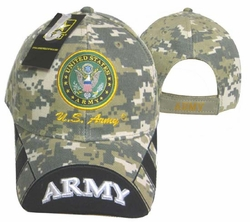 Military Hats Caps Wholesale Licensed Supplier Bulk Massachusetts - CAP601EC Army Emblem Army Bill Camo Cap