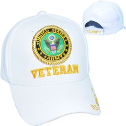 Military Hats in Bulk Premium Wholesale Leather Licensed -PUMI-780 Army Vet Wht