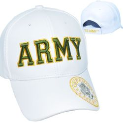 Military Hats in Bulk Premium Wholesale Leather Licensed -PUMI-788 Army Wht