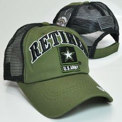 Wholesale Army Retired Military Hats in Leather Licensed -TRMI-355 ARMY RETIRED TRUCKER