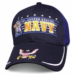 Hats Caps Wholesale Bulk Supplier - Military Patriotic Veteran - HT4008. Licensed Navy Ball Cap [Eagle Horizon]
