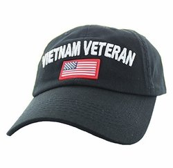 Hats Wholesale Bulk Supplier - BM701-81 Vietnam Veteran Cotton Baseball Velcro Cap (Solid Black)