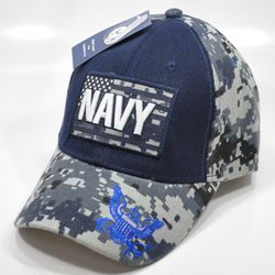 Military T Shirts Hats Wholesale Bulk Supplier - NY-006%20NAVY%20WITH%20FLAG