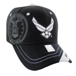 Best Selling USA Wholesale Air Force Caps - Military Baseball Hats in Bulk - Licensed Black Air Force (Wing Logo) Hat [Shadow Seal]