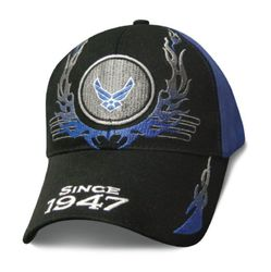 Wholesale Clothing, Best Selling Air Force Military Wholesale Hats Caps Men's Bulk Suppliers - Licensed Black Blue US Air Force Logo Hat w Flames (Since 1947)