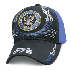 Best Selling USA US Navy Military Wholesale Hats Caps Men's Bulk Suppliers - Licensed Black Blue US Navy Hat w Flames (Since 1775)