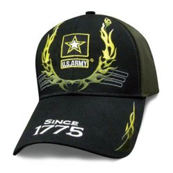 Wholesale Clothing, Best Selling Army Military Wholesale Hats Caps Men's Bulk Suppliers - Licensed Black Green US Army Hat w Flames (Since 1775