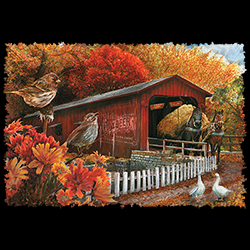 MSC Distributors: Shop Fall Covered Bridge Holiday Seasonal T Shirts Cheap Wholesale Bulk Suppliers - 22532HD3