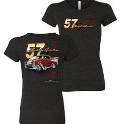 Wholesale Women's American Muscle Car T Shirts Bulk Suppliers - NSG-218-57-Belair-Ladies