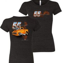 Wholesale Women's American Muscle Car T Shirts Bulk Suppliers - NSG-222-55-Chevy-Truck-Ladies