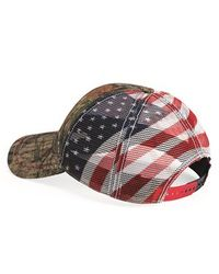 Hunting Hat - Outdoor Cap - Camo Cap with American Flag Mesh Back - CWF400M