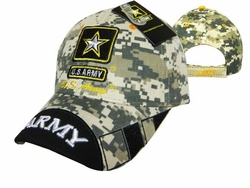 Military Hats Caps Wholesale Licensed Supplier Bulk Massachusetts - CAP601UC Army Logo Army on Bill Cap Camo