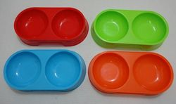 Pet Products Wholesale Suppliers - PS81. Small Double Pet Dish [Bright Colors]