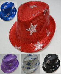 MSC Distributors : Wholesale Boutique Clothing Suppliers USA Party Hats - HT314. Fedora Hat-Sequins with Stars