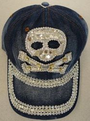 Skull Hats Wholesale HT1053. Denim Hat with Bling Silver [Skull]
