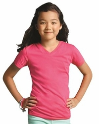 V-Neck T Shirts Wholesale Bulk Supplier - Blank - LAT - Girls V-Neck Fine Jersey T-Shirt - 2607