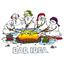 Christmas Picks T Shirts Wholesale Distributors Winter - Snowmen Bad Idea Funny 08940HD4