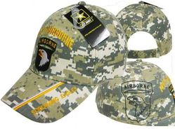 Wholesale Military Patriotic Hats for Men - Veteran Baseball Caps Headwear Embroidered, Officially Licensed, Wholesale Bulk Suppliers - CAP626C 101 Airborne Division Cap ACU Camo