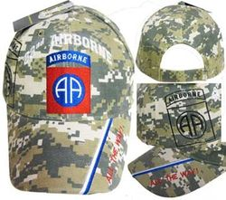 82 Airborne Division, Veteran Baseball Caps Headwear Embroidered, Officially Licensed, Wholesale Bulk Suppliers - CAP627C 82 Airborne Division Cap ACU Camo