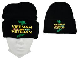 Wholesale Beanies Winter Military Hats USA VIETNAM(VETERAN)(BLACK)