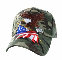 Clothing Patriotic Hats Caps MilitaryWholesale Bulk Suppliers - VM040-07 American USA Eagle Velcro Cap (Solid Military Camo)