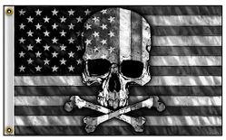 Wholesale American Flag with Skull Black White