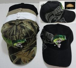 MSC Distributors : Funny Fishing Men's Hats Wholesale Bulk Supplier - HT416. Fish Hat with Shadow [Bass on Back]